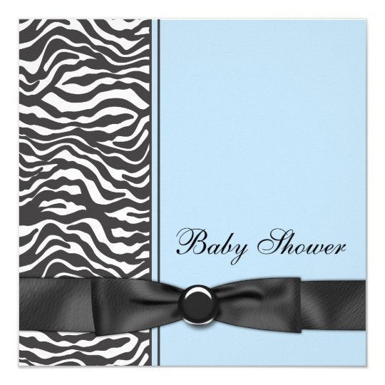 Blue Zebra Baby Shower Card