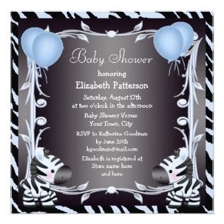 Blue Zebra Balloons Animal Print Baby Shower Personalized Invite