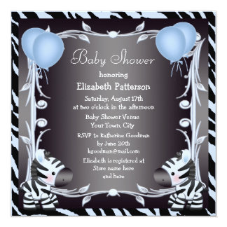Blue Zebra & Balloons Animal Print Baby Shower Personalized Invite