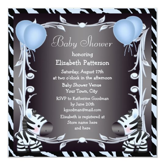 Blue Zebra & Balloons Animal Print Baby Shower Invitation ...
