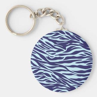 blue zebra basic round button keychain
