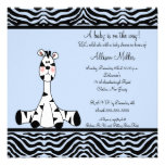 Blue Zebra Boy Baby Shower Invitation