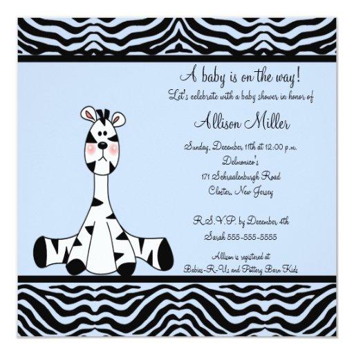 Baby Shower Zebra Boy ~ Blue zebra boy baby shower invitation zazzle