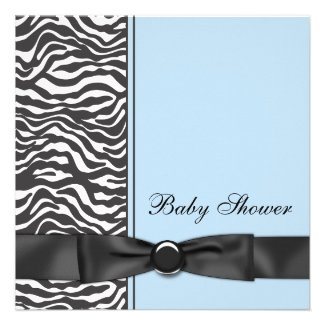 Blue Zebra Boy Baby Shower Invitations