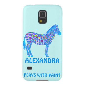 Blue Zebra Colorful Plays With Paint Galaxy S5 Cover