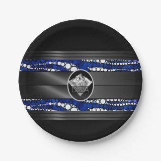 Blue Zebra Diamond Diva Paper Plate
