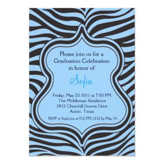 Blue Zebra Graduation Invitation Custom Color
