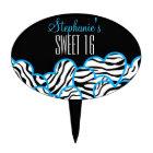 Blue zebra heart Sweet 16 Birthday Cakepick