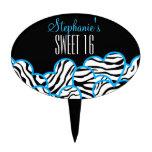 Blue zebra heart Sweet 16 Birthday Cakepick Cake Toppers