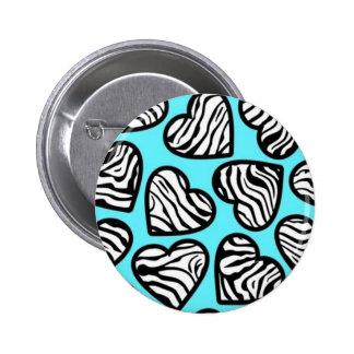 Blue zebra hearts Button