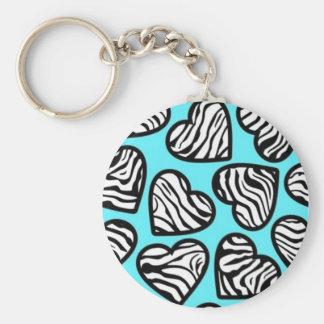Blue zebra hearts Keychain