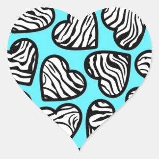 Blue zebra hearts sticker