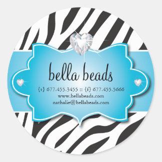 Blue Zebra Jewelry Designer Stickers