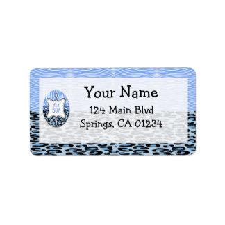 Blue Zebra,Leopard Boy Baby Shower Address Labels