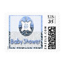 Blue Zebra,Leopard Boy Baby Shower Postage Stamps