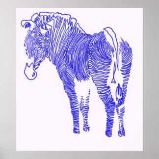 blue zebra line poster