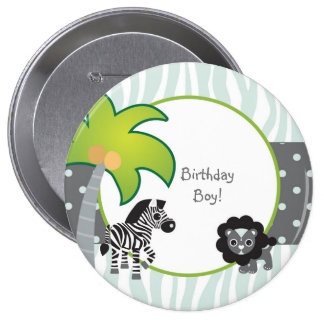 Blue Zebra Lion Jungle Personalized Birthday Pinback Button