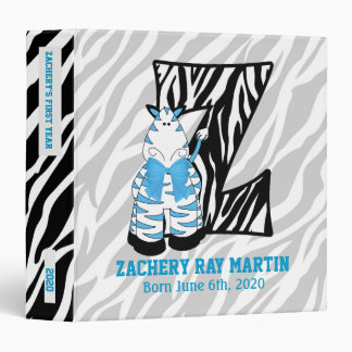 "Blue Zebra Monogram ""Z"" Baby Scrapbook 3 Ring Binder"