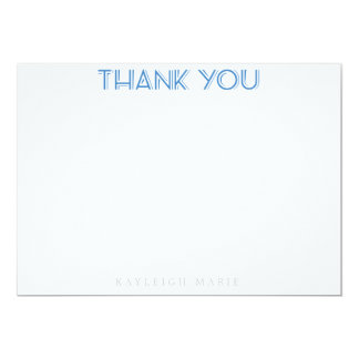 Blue Zebra Pattern Thank You Notes Personaalized 5x7 Paper Invitation Card