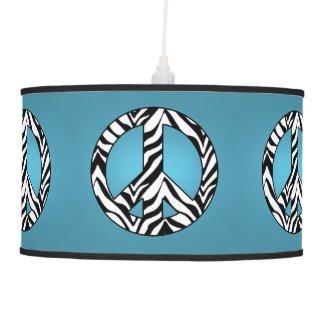 Blue Zebra Peace Sign Lamp