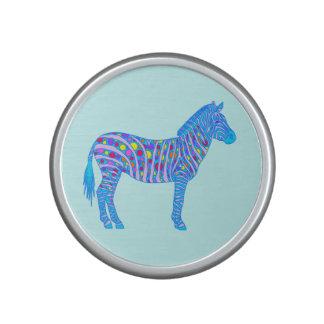 Blue Zebra Pop Art Dots Stripes Colorful Safari Speaker