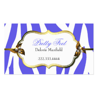 Blue Zebra Print and Gold Business Card
