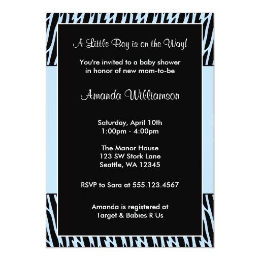 Blue Zebra Print Baby Boy Shower Invitations