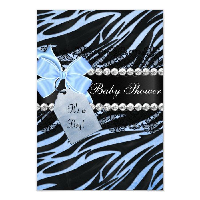 Blue Zebra Print Boy Baby Shower Invitation   Zazzle
