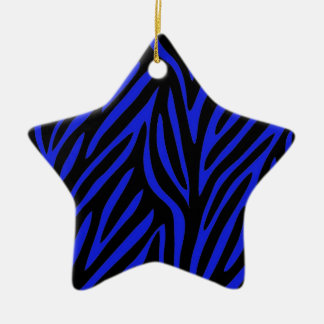 Blue Zebra Print Ceramic Ornament