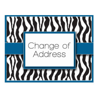 Blue Zebra Print Change of Address Postcards