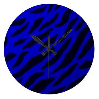 Blue Zebra Print Clock