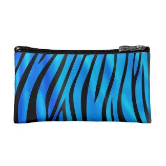 Blue zebra print cosmetic bags