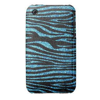Blue zebra print (faux glitter bling) Case-Mate iPhone 3 cases