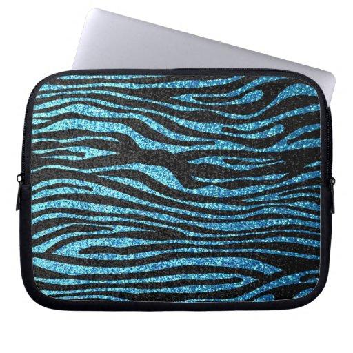 Blue zebra print (faux glitter bling) computer sleeves