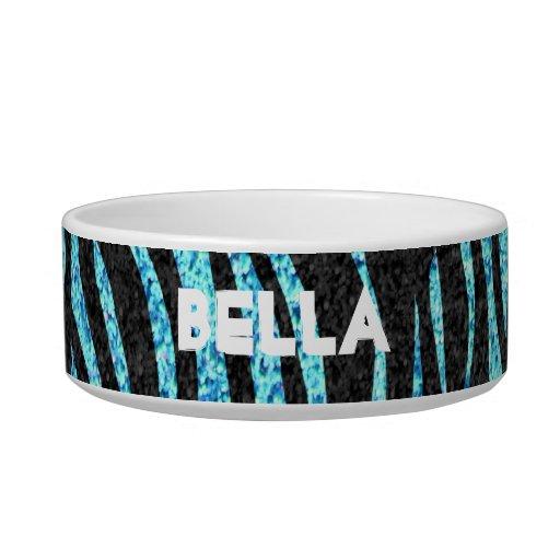 Blue zebra print (faux glitter bling) pet water bowls