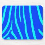 Blue Zebra Print Mouse Mats