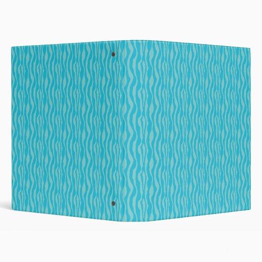 Blue Zebra Print Pattern Binder