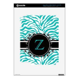 Blue Zebra Print with  Monogram iPad 3 Skin