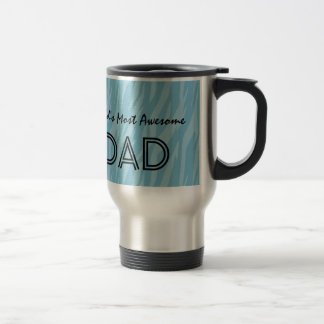 Blue Zebra Print World's Most Awesome DAD Gift Travel Mug