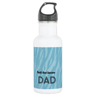 Blue Zebra Print World's Most Awesome DAD 18oz Water Bottle
