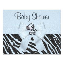 Blue Zebra, Printed Bow & Glitter Look Baby Shower Card
