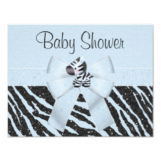 Blue Zebra, Printed Bow & Glitter Look Baby Shower Card