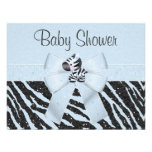 Blue Zebra, Printed Bow & Glitter Look Baby Shower Personalized Invites