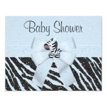 Blue Zebra, Printed Bow & Glitter Look Baby Shower Invitation