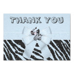 Blue Zebra & Printed Bow Glitter Look Thank You Card