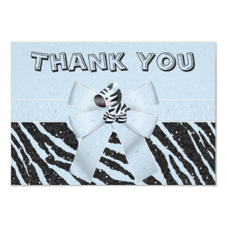 Blue Zebra & Printed Bow Glitter Look Thank You Card
