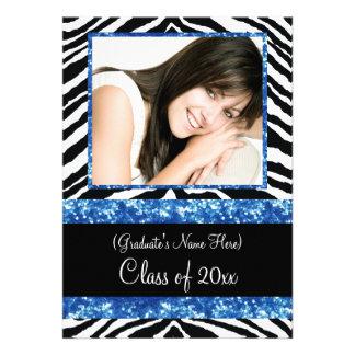 Blue Zebra Sparkle Girls Graduation Party Announcement