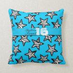 Blue zebra stars Sweet 16 Birthday Pillow