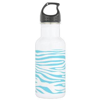 Blue Zebra stripe pattern 18oz Water Bottle