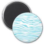 Blue Zebra stripe pattern 2 Inch Round Magnet